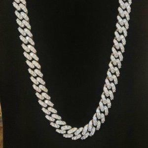 "24"" White Gold finished Iced cuban chain"